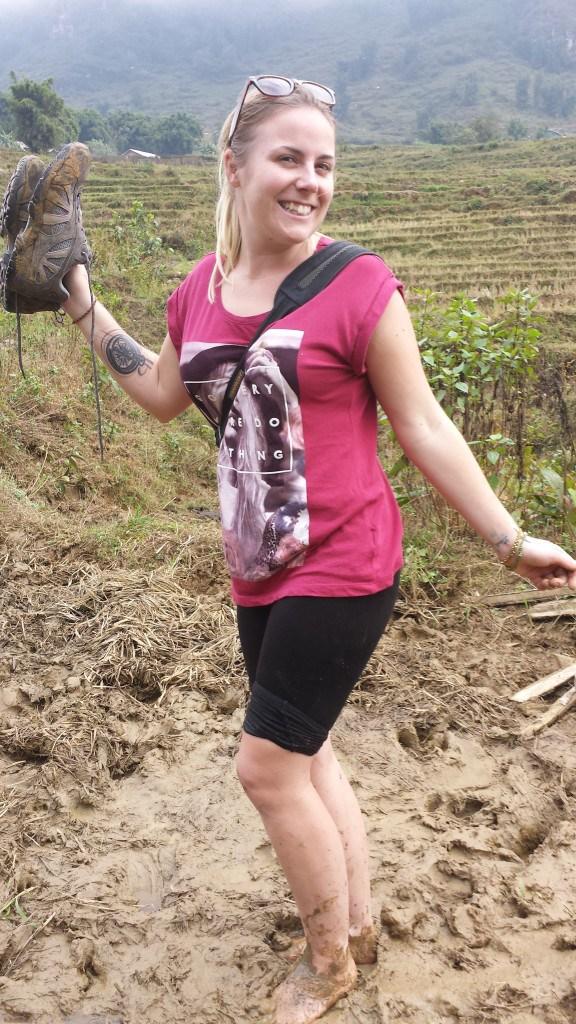 Emily Luxton hiking mud