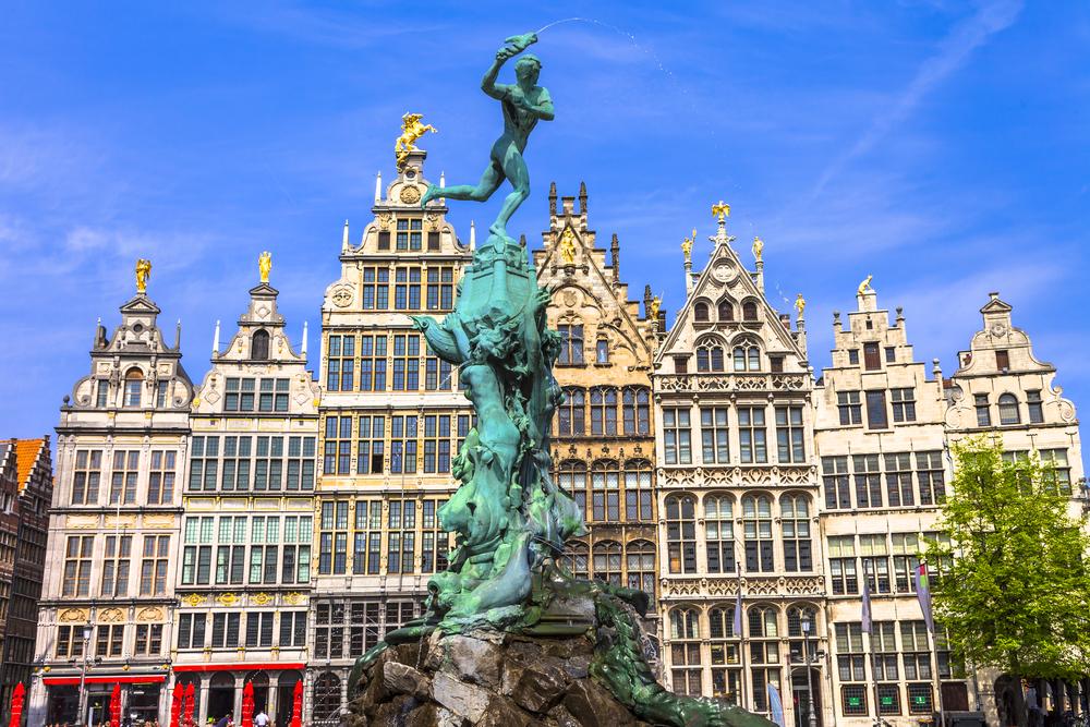 beautiful square in Antwerpen old town. Belgium