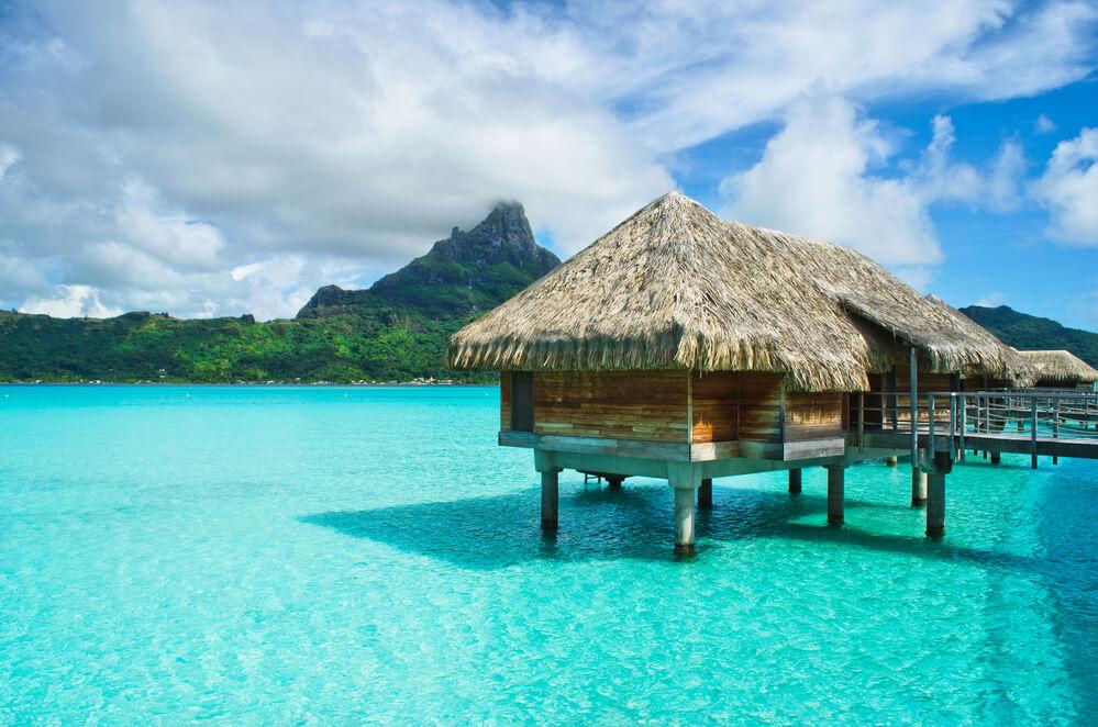 Thatched roof honeymoon bungalow on Bora Bora